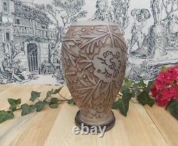 Ancien Vase Art Deco Signe Val Verrerie D'art Lorrain Pate De Verre