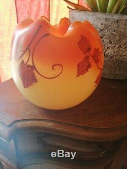 Ancien Vase Boule Pte De Verre Émaillée, Signés Legras