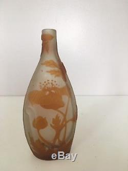 Ancien Vase Émile Gallé Bouteille, No Copy. Original