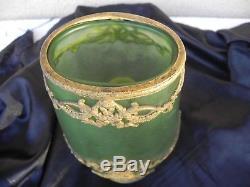 Ancien Vase En Pate De Verre Givré Monture Empire, Daum Nancy