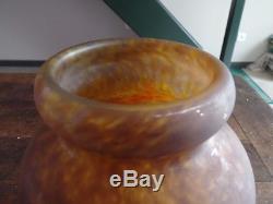 Ancien Vase En Pate De Verre Signe Muller Freres Luneville Art Deco