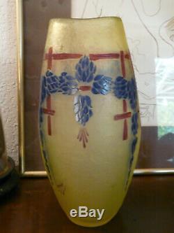 Ancien Vase En Pate De Verre-art Deco-degage Acide-signelegras-annee 1930