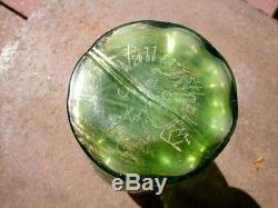 Ancien Vase En Verre Decor Emaille Signe