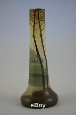 Ancien Vase Legras Decor Lacustre Degage A L'acide