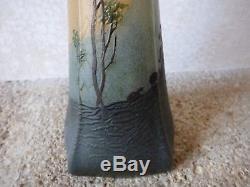 Ancien Vase Pate De Verre Signe Legras