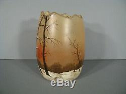 Ancien Vase Signé Legras Style Art Nouveau En Verre Peint Émaillé Décor Hivernal