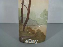 Ancien Vase Style Art Nouveau En Verre Peint Émaillé Décor Lacustre Signé Legras