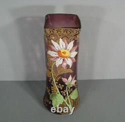Ancien Vase Verre Émaillé Style Art Nouveau Décor Fleur Montjoye Legras Pantin