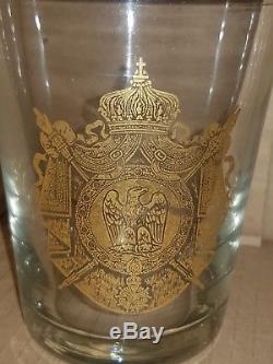 Ancien Verre Decor Napoleonien Avec Un Aigle Imperial Dore A L'or Fin