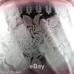 Ancien Verre Lampe à Pétrole Victorien gravé à l'acide/globe/cranberry shade19th