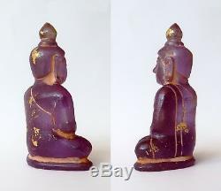 Ancien bouddha en cristal de roche violet traces dorure Laos