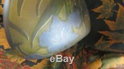 Ancien chapeau de lampe champignon signé galle pate de verre iris ancienne copie