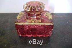 Ancien flacon à parfum en cristal avec dorure XXème