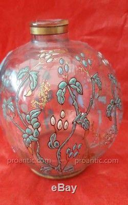 Ancien flacon verre émaillé signé Emile Gallé fin XIXe Daum pâte de verre Nancy