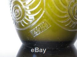 Ancien grand vase Legras Art Déco signé