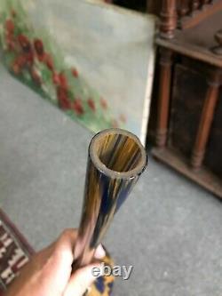 Ancien grand vase pate de verre signé mulaty orange bleu art deco