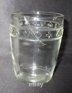Ancien lot 12 verre soufflé moulé de joueur pique cur carreau trèfle XIX ème