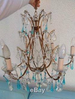 Ancien lustre à pampilles bleues cristal verre de murano 6 feux