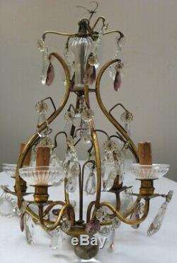 Ancien lustre cage pampilles cristal couleur violet transparent verre laiton