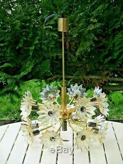 Ancien lustre fleurs en verre & laiton /cristal de murano Italie 60/70