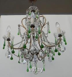 Ancien lustre pampille murano cristal, verre souffle 1900, pampille perle verte