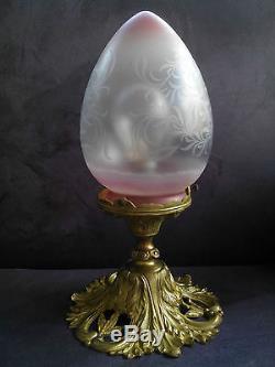 Ancien lustre plafonnier de vestibule début XXe bronze doré et pate de verre