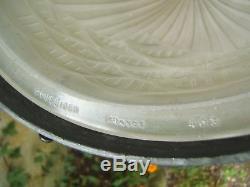 Ancien lustre vasque obus tulipe art déco signé Schneider montuer fer forgé