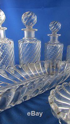 Ancien nécessaire toilette parfum flacon cristal de baccarat epoque XIXe