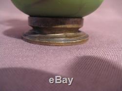 Ancien petit vase époque art nouveau en pâte de verre et métal. Sèvres