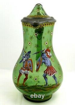 Ancien pichet à bière, Allemagne XIXe, verre émaillé, excellent état