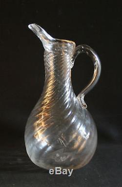 Ancien pichet cruche à cidre normand en verre soufflé torsadé XVIII ème