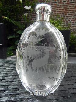 Ancien & rare gourde flacon en cristal taillé décor cerf boheme st louis