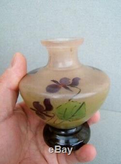 Ancien rare petit vase verre peint et émaillé fin LEGRAS art nouveau au violette