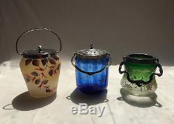 Ancien seau/pot à biscuits en verre émaillé signé VERRERIE de LORRAINE -poinçon