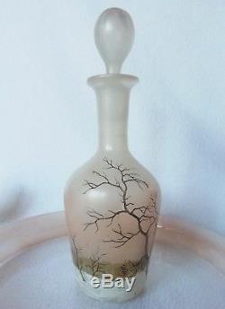 Ancien service à liqueur 8 Pièces Verre émaillé LEGRAS décor d'arbres enneigés