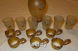 Ancien service à liqueur aiguière verre émaillé métal doré fleurs myosotis