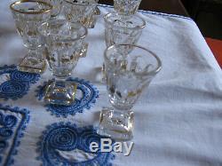 Ancien service à liqueur cristal Baccarat XIX° siècle orné de dorures