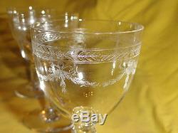 Ancien service à liqueur, cristal de Baccarat, carafe, 8 verres gravé, frise laurier