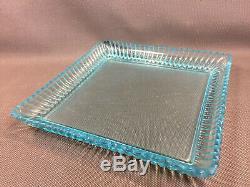 Ancien service à liqueur digestif en verre émaillé bleu George Sand carafe verre