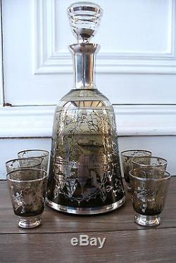 Ancien service à liqueur en verre et décor argent Venise carafe avec 6 verres