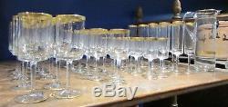 Ancien service de verres vintage 1970 bord doré a vin eau flute champagne pichet