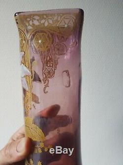 Ancien vase En Verre Émaillé Mont Joye St Denis Legras old vase flower
