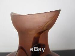 Ancien vase Gallé dégagé à l'acide. Pate de verre. Restauration