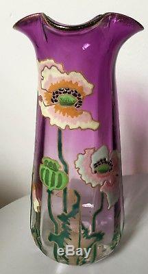 Ancien vase Legras modèle aux pavots, verre émaillée violet