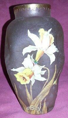 Ancien vase Montjoye Legras époque 1900 art nouveau décor émaillé de narcisses