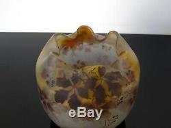 Ancien vase boule Peynaud en verre émaillé. Pate de verre