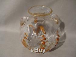 Ancien vase boule en verre émaillé époque art déco début XX ème siècle