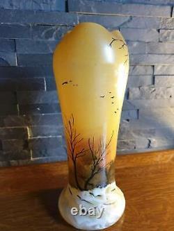 Ancien vase col lobé LEGRAS Paysage enneigé