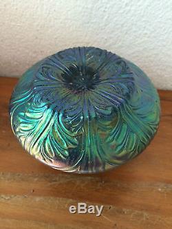 Ancien vase coupe EN VERRE IRISE 1900 ART NOUVEAU JUGENDSTIL style LOETZ TIFFANY