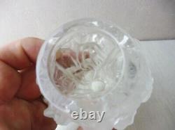 Ancien vase cristal moulé pressé, décor Bacchantes, Heinrich Hoffman / Lalique